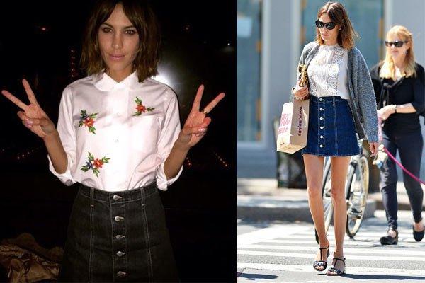 faldas con botones alexa chung
