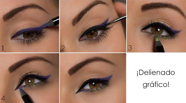 Maquillaje de noche paso a paso delineado gráfico