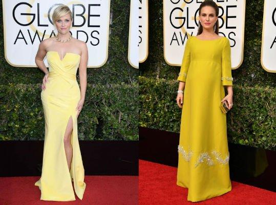 vestidos de los globos de oro amarillo